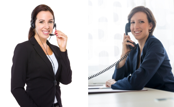 Telephone rep and sales rep speaking with each other